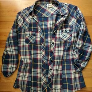 Tops - Blue and yellow plaid